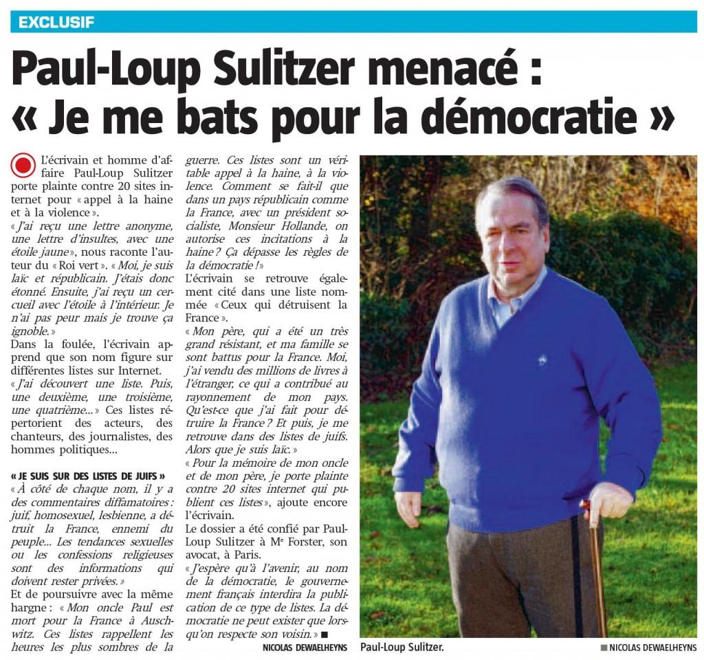 Menacé, Paul-Loup Sulitzer contre-attaque et porte plainte ! article-paul-loup-sulitzer-sudpresse-31-decembre-20121