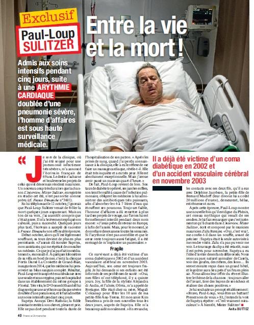 Paul-Loup Sulitzer Hospitalisé